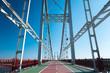 Bridge design. Urban magnificent bridge uniting river banks and running above river