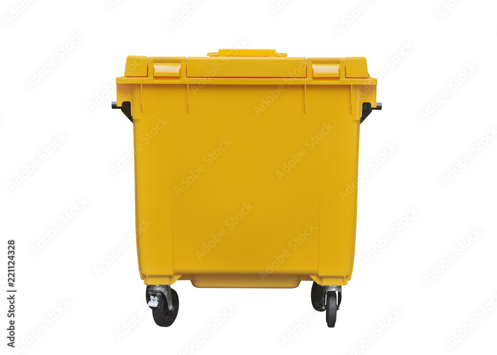 Fototapeta yellow plastic trash can isolated on white background