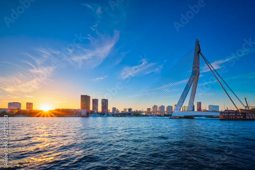 Erasmus Bridge on sunset, Rotterdam, Netherlands