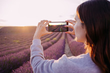 France, Valensole, Woman Taking Photo Of Lavender Field At Sunset