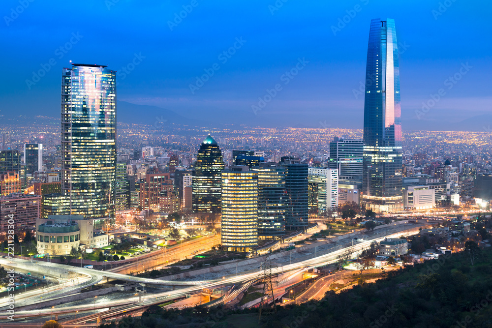 Fototapety, obrazy: Skyline of Santiago de Chile with modern office buildings at financial district in Las Condes.