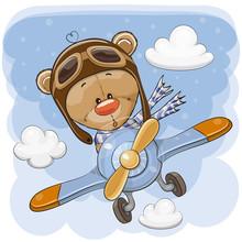Cute Teddy Bear Is Flying On A Plane