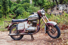 The Thrown Old Rusty Brown Vintage Motorcycle