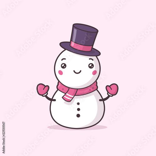 Photo  Cute snowman kawaii vector illustration