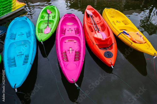 Colorful kayak on the water. Canvas Print