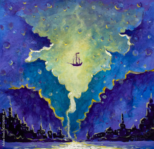 Photo  Old pirate ship, Peter Pan in space over black night city painting, star wars dr