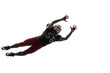 Active one american football player isolated on white background. Fit caucasian man in uniform jumping over studio background in jump or motion. Human emotions and facial expressions concept