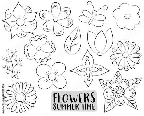 Floral Set Hand Drawn Flowers In A Cartoon Style Black And White