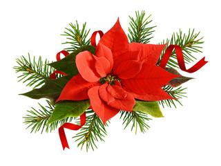 Fototapeta Boże Narodzenie/Nowy Rok Red poinsettia flower and twigs of Christmas tree with satin ribbons