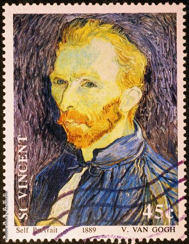 Fotografía  Self-portrait by Van Gogh on stamp of Saint Vincent