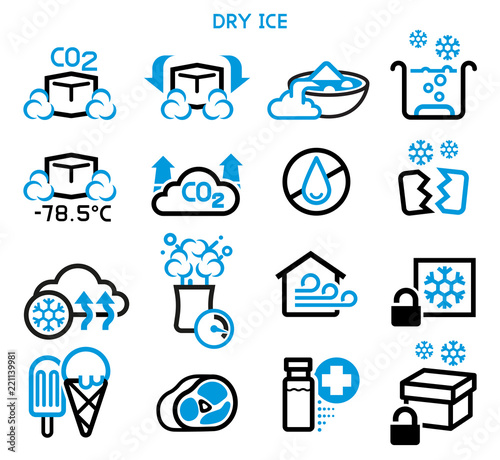 Fotografía General icon of dry ice. Reaction and use a solid carbon dioxide.