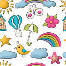 Summer Season Seamless Pattern. Cute Cartoon Repeating Colorful Background. Vector Illustration.