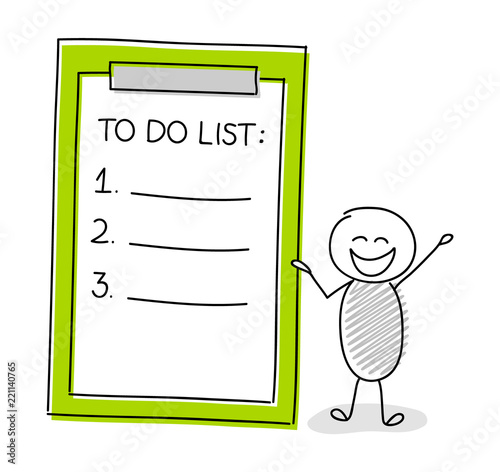 Photo  Funny stickman showing to do list. Vector.