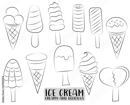 Ice Cream And Popsicles Cute Hand Drawn Set Sweet Dessert Concept Black And White Outline Coloring Page Kids Game Monochrome Line Art Vector Illustration Vector Illustration Buy This Stock Vector And