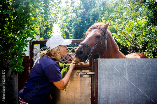Photo  beautiful blonde woman feeds carrots the horse