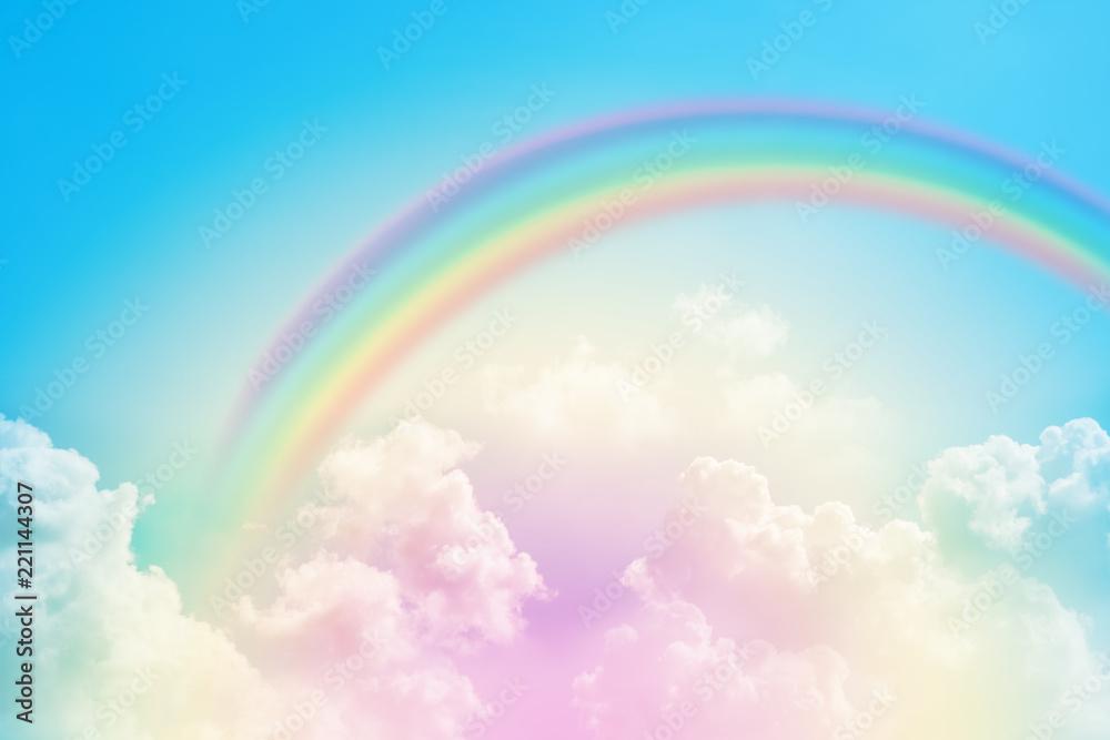 Fototapety, obrazy: rainbow in cloudy sky