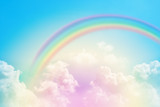 Fototapeta Tęcza - rainbow in cloudy sky