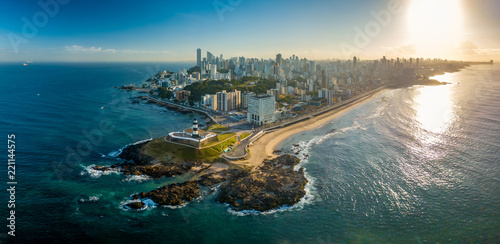 Fotografie, Tablou  Aerial View of Farol da Barra in Salvador, Bahia, Brazil