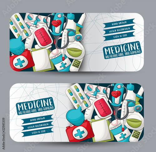 Medicine And Healthcare Horizontal Banner Set Cute Header For Invitation Advertisement Web Page Hand Drawn Cartoon Style Medical Clinic Design Concept Vector Illustration Buy This Stock Vector And Explore Similar Vectors