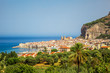 CEFALU / SICILY - SEPTEMBER 15, 2011: Cefalu summer day panorama of the city taken from the hill