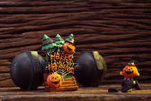 Halloween Festival Head Doll Pumpkins Haunted Spooky And The Black Iron Dumbbell. Fitness, Healthy Active Lifestyle On Halloweeen Day Concept.