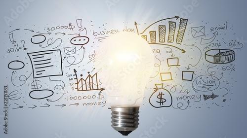 Fotografía  Light bulb banner, marketing concept, business idea. info