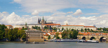 A Panorama Of The Characteristic Place Of The Czech Capital, The Hradčany Castle And The Charles Bridge.