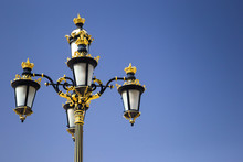 Old-fashioned Street Lamp Decorated By Gold