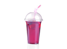 Cold Karkade Tea In A Disposable Glass With A Straw On A White Isolated Background