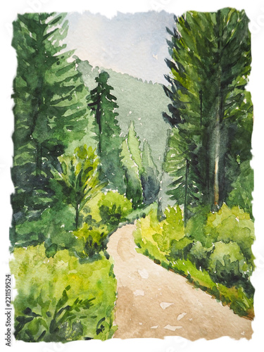 Tuinposter Khaki Watercolor painting with wild forest and trail. Inspiration for hiking and travel. Vertical postcard with landscape.