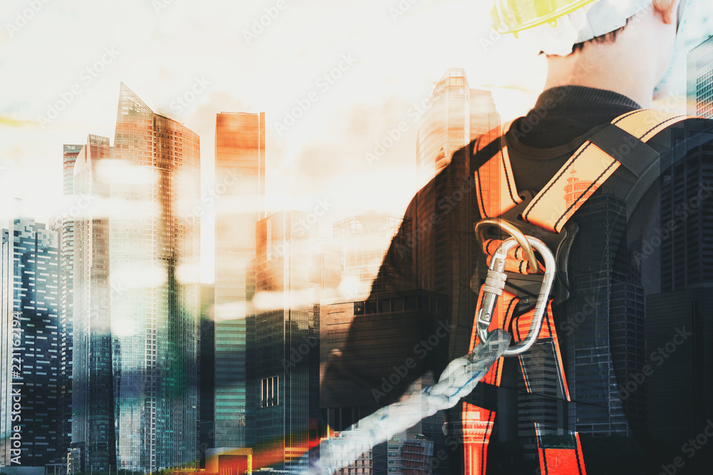 Fototapety, obrazy: Double exposure photo of Working at height equipment. Fall arrestor device for worker with hooks for safety body harness