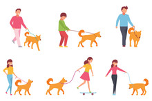 A Set Of Characters Walk With A Dog. Vector Illustration In Simple Style On White Isolated Background