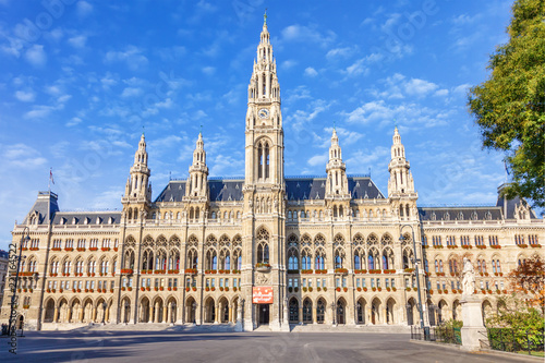 VIENNA / AUSTRIA - October 19, 2013: Picturesque view of Gothic building of Vienna City Hall. Wiener Rathaus