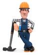 3d illustration Builder worker in overalls with hammer/3D