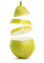 Flying Slices Of Pear Isolated...
