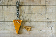 Traditional American Pumpkin Pie For Thanksgiving Day Or Halloween On A Wooden Background. Rustic Style.