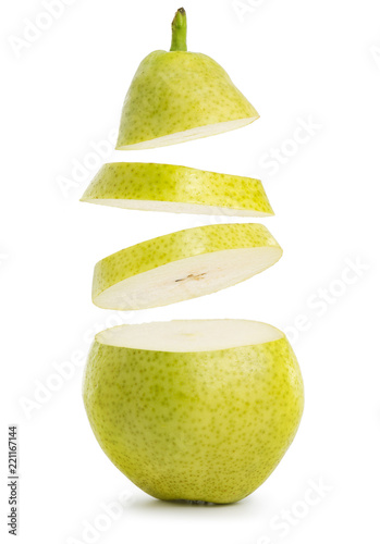 Vászonkép flying slices of pear isolated on white background