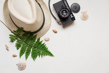 Summer Flat Lay With Hat And Fern On White