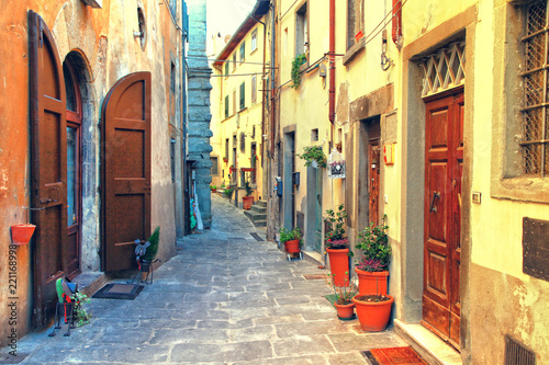 Traditional Italy - old narrow streets of medieval town Siena in Tuscany