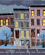 Flat cartoon vector illustration of winter snowy city street at night. 3-4-story uneven houses with luminous windows,. Street cityscape. Evening town landscape with trees in the foreground, puddles