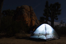 Tent Shining White In The Desert At Joshua Tree National Park