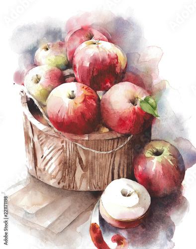 jablka-czerwone-owoce-w-akwarela-koszyku