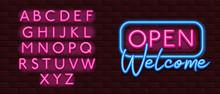 Neon Banner Alphabet Font Bric...