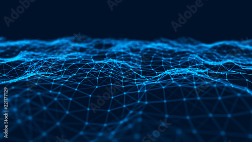 Photo Stands Fractal waves Abstract technology background. Music blue background. Big data visualization. 3d rendering.