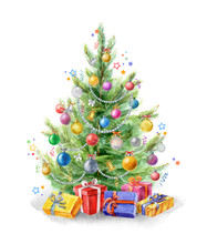 Watercolor Illustration: Christmas Tree Decorated With Balls. Gifts Under The Christmas Tree. Template For The Design