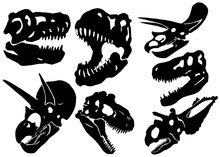 Graphical Set Of Dinosaur Skulls Isolated On White, Vector Tattoo Illustration