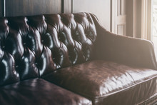 Closeup Of Detail Leather Sofa...