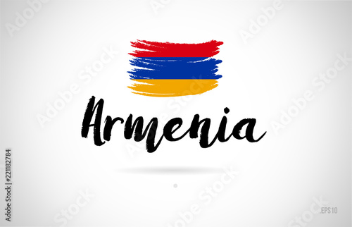 Photo armenia country flag concept with grunge design icon logo
