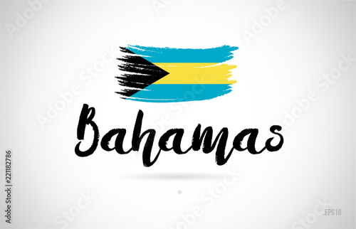 bahamas country flag concept with grunge design icon logo Canvas Print