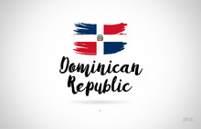 Dominican Republic Country Flag Concept With Grunge Design